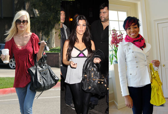 Tori Spelling with the black City; Kourtney Kardashian with a black Giant City with large hardware; Monica with a yellow Giant Work with Large Hardware
