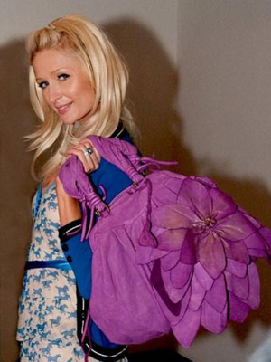 Paris Hilton with Moni Moni by Cinzia Moniaci Lilies Handbag