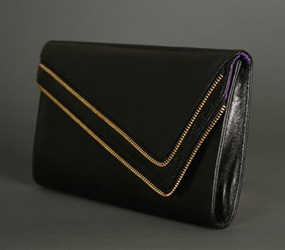 Glam Noir Leather Zip Clutch in Black
