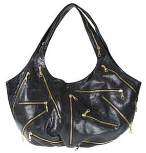 J.J. Winters Leather Zipper Bag in black