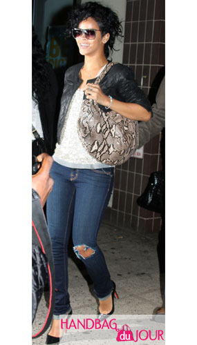 Rihanna Rocks the Devi Kroell Large Roman bag in Natural Python