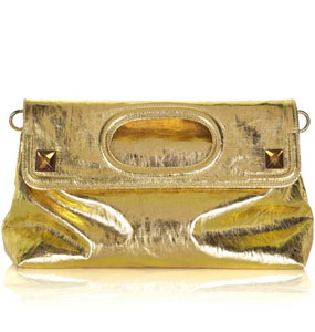 Stella McCartney Metallic linen fold-over clutch