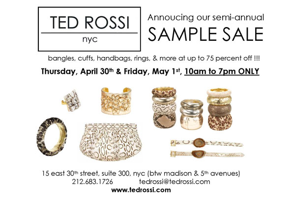 Ted Rossi NYC sample sale handbags jewelry