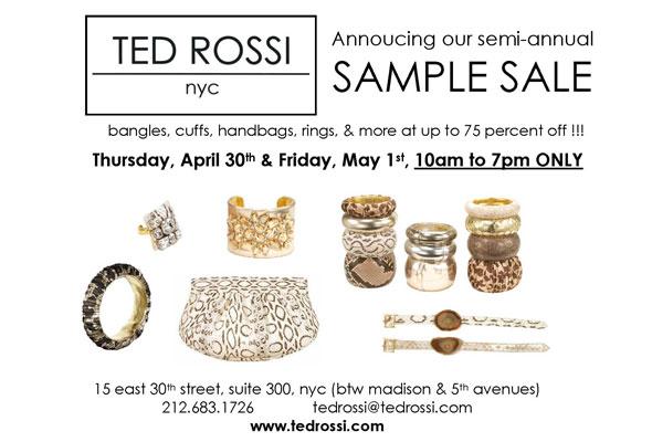 Ted Rossi NYC sample sale handbags jewelry