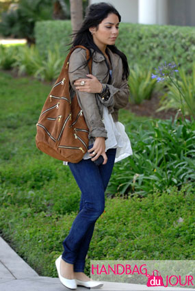 Vanessa Hudgens Rocks the J.J. Winters Suede Zipper Bag in Rust