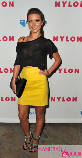 Audrina Patridge attends NYLON Magazine and MySpace Young Hollywood Issue Party at the Hollywood Roosevelt Hotel on May 4, 2009 in Hollywood, California Alexander McQueen 'Squeeze It' Clutch Balmain crystal embellished studded sandals