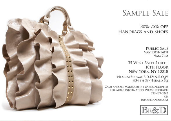 Be & D handbag and shoe sample sale NYC Studded Garbo Kan Kan