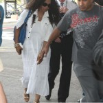 Janet Jackson loves her Zagliani puffy bags blue croc cobalt