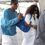 Janet Jackson loves her Zagliani puffy bags blue croc cobalt jermaine jackson