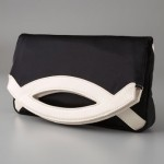 Lauren Merkin Blake black satin cream fold over clutch