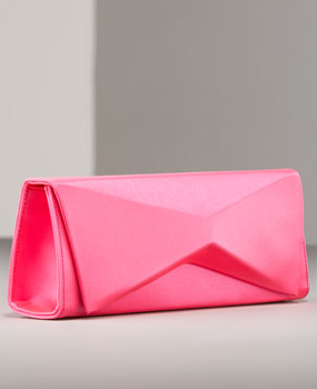Christian Louboutin Sculptural Satin Clutch in-shocking-pink