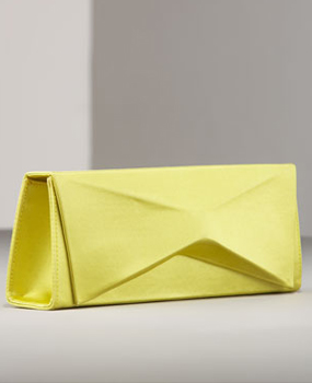 Christian Louboutin Sculptural Satin Clutch souffre yellow
