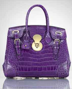The Crocodile Ricky Bag by Ralph Lauren purple