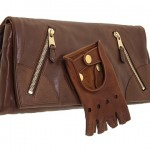 Alexander McQueen Faithful Glove Clutch brown leather