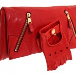 Alexander McQueen Faithful Glove Clutch red leather