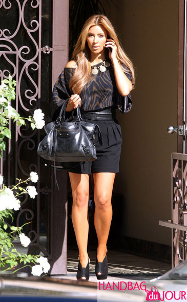 Kim Kardashian black Balenciaga bag Kourtney pregnant shopping West Hollywood