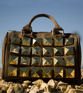 Haute Bag of the Week: Novella Royale Mister Bowler studded Bag in Brown as seen in nylon magazine
