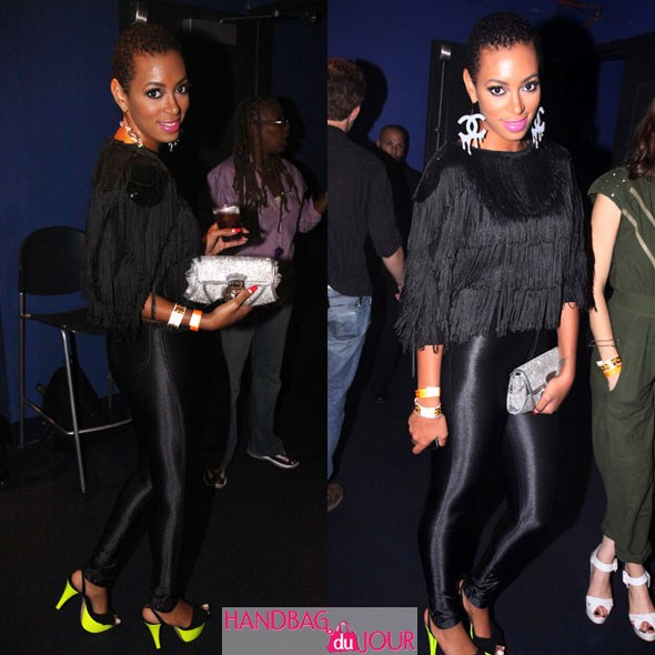 Solange Knowles Q-Tip New York Nokia Theater Michael Jackson's 51st birthday Chanel 'Dripping' earrings, neon green and black Victoria Beckham Giambattista Valli shoes, American Apparel leggings black fringed top sparkly silver clutch Versace Fendi