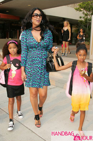 Kimora, Ming and Aoki Lee Simmons shop it up at Kitson Kids tory burch studded satchel Diane von Furstenberg Julian wrap Dress in green spotted cat