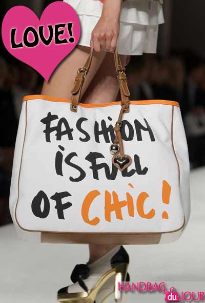 Fashion is full of chic tote bag seen on the runway at Moschino Cheap & Chic - Milan Fashion Week Spring Summer 2010