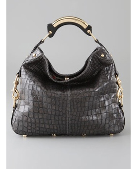 Haute bag of the Week grey croc-embossed leather Rebecca Minkoff Mini Nikki Bag with Resin Handle