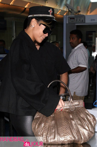 Rihanna goes for the gold: Zagliani Python Puffy Satchel