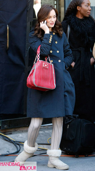 Leighton Meester on set of Gossip Girl with red leather Anya Hindmarch Belvedere Bag handbag