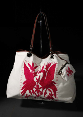 Nahui Ollin + Young Survival Coalition (YSC) Fight benefit proceeds Breast Cancer month october pink hand-embroidered bag
