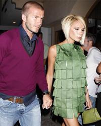 Posh and Bex David Beckham Victoria pictured with her Green Hermès Kelly Lizard Pochette