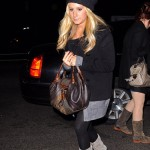 Ashley Tisdale Fendi Zucca Spy bag grey Christian Louboutin boots on the streets of Manhattan