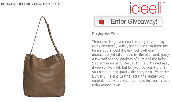 Enter to win - Burberry Fielding leather tote giveaway on ideeli!
