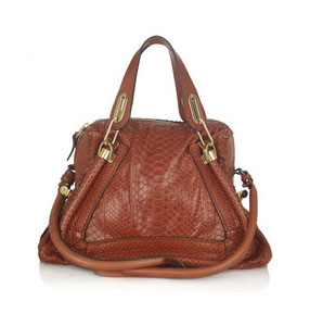Chloé Python Paraty bag in brick red