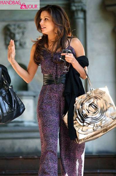 Eva Longoria Parker Metallic Valentino Petale tote Chateau Marmont Los Angeles
