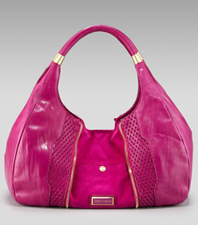 Jimmy Choo Mandah Expandable Hobo resort 2010 hot pink calf leather suede