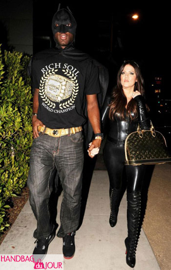Khloe Kardashian recycles her Louis Vuitton gold Miroir Alma for Halloween Lamar Odom