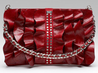 Be & D Ruffle Kan-Kan Portfolio in Red Patent Leather