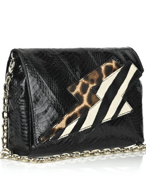 Jimmy Choo Conti snakeskin shoulder bag lightning-shaped fold-over flap made of cheetah and zebra-print ponyskin panels