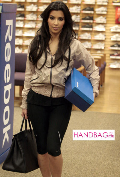 Kim Kardashian and shops for Reebok EasyTone sneakers at Dick's Sporting Goods with a black Hermes Birkin