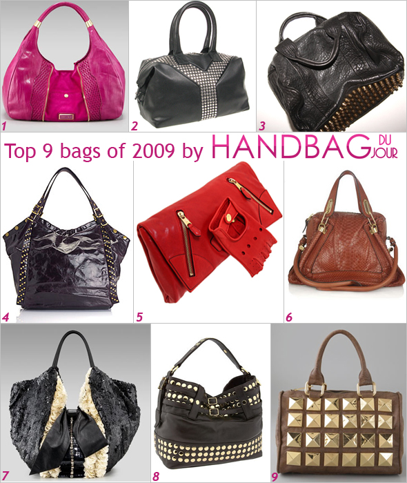 Handbag du Jour Top 9 bags of 2009 of the year Jimmy Choo Mandah Hobo YSL Easy Studded Y Bag Alexander Wang Coco Duffel Kooba Alex Tote Alexander McQueen Faithful Glove Clutch Chloé Paraty Python Tote Valentino Shining Flower Tux 360 Tote Rebecca Minkoff Stud Devote Belted Tote Novella Royale Mister Studded Tote