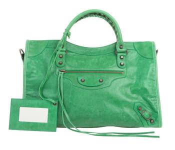 Balenciaga Arena City green leather handbag