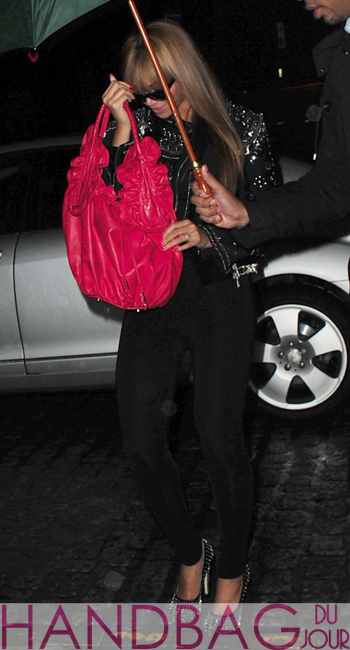 Beyonce in Nice France with her Red Ruffle Bag by November XVIII