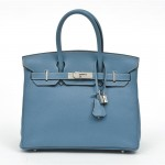 Portero.com Hermès Blue Jean Clemence Leather 30cm Birkin Bag