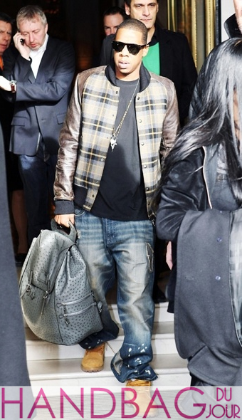 Celebrity manbag spotting Jay-Z in Paris Menswear Fashion Week with Louis Vuitton Ostrich Skin Backpack
