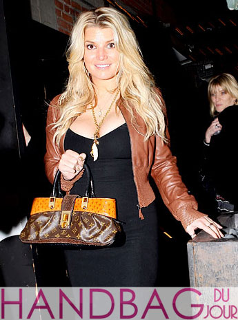 Spotted: Jessica Simpson with her Limited Edition Louis Vuitton Oskar Waltz Ostrich Lizard & Snake Runway Bag