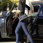 Zoe Saldana shops diesel barney's new york in los angeles with Chanel flap bag