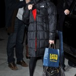 Amanda Seyfried visits Late Show With David Letterman Dear john red dress studded prada bag