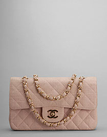 Chanel vintage handbags pink quilted flap fabric bag