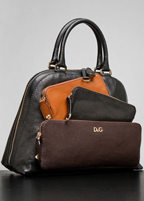 D&G Dolce and Gabbana Mindy Satchel in Black Brown Luggage