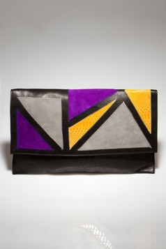 Helena de Natalio Brandi Clutch In Black And Yellow on sale at beyond the rack