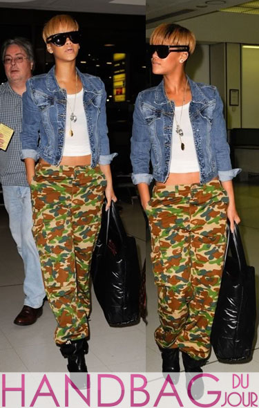 Rihanna jetsets with her Coco Chanel Cocoon reversible quilted large tote